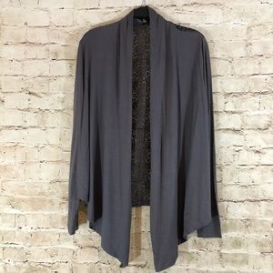 NWOT Gray lace back open knit cardigan size small